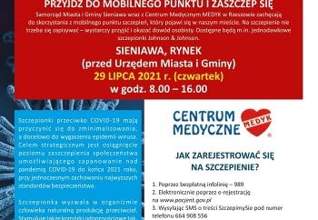 Zdjęcie główne dla: 'Szczepienia przeciwko COVID-19 w Mieście i Gminie Sieniawa - 29 lipca br. zapraszamy na sieniawski rynek'