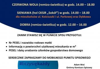 Zdjęcie główne dla: 'Zapraszamy 25 lipca 2021 r. do Mobilnych Punktów Spisowych w sołectwach Czerwona Wola, Dybków i Dobra'