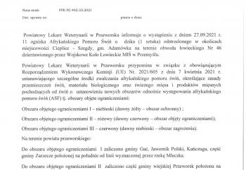 Zdjęcie główne dla: 'Informacja Powiatowego Lekarza Weterynarii w Przeworsku, 4.10.2021 r.'