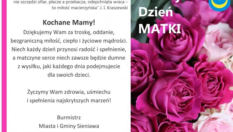 Zdjęcie główne newsa: Życzenia Burmistrza Miasta i Gminy Sieniawa z okazji Dnia Matki
