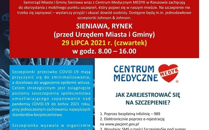 Zdjęcie główne newsa: Szczepienia przeciwko COVID-19 w Mieście i Gminie Sieniawa - 29 lipca br. zapraszamy na sieniawski rynek