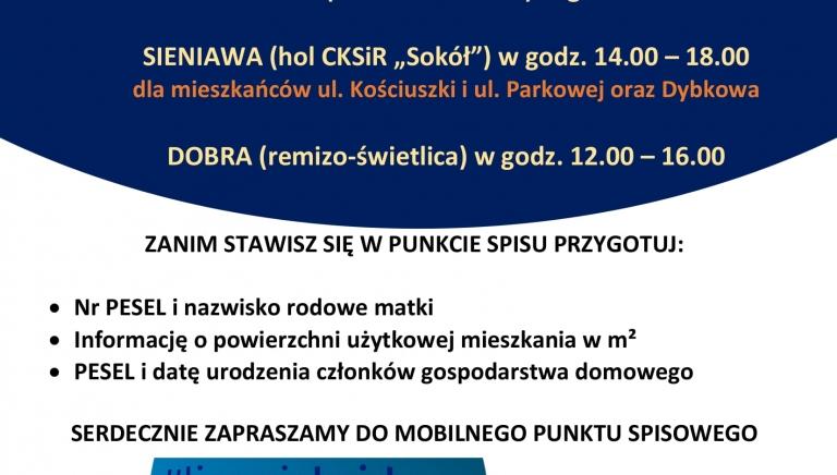Zdjęcie główne newsa: Zapraszamy 25 lipca 2021 r. do Mobilnych Punktów Spisowych w sołectwach Czerwona Wola, Dybków i Dobra