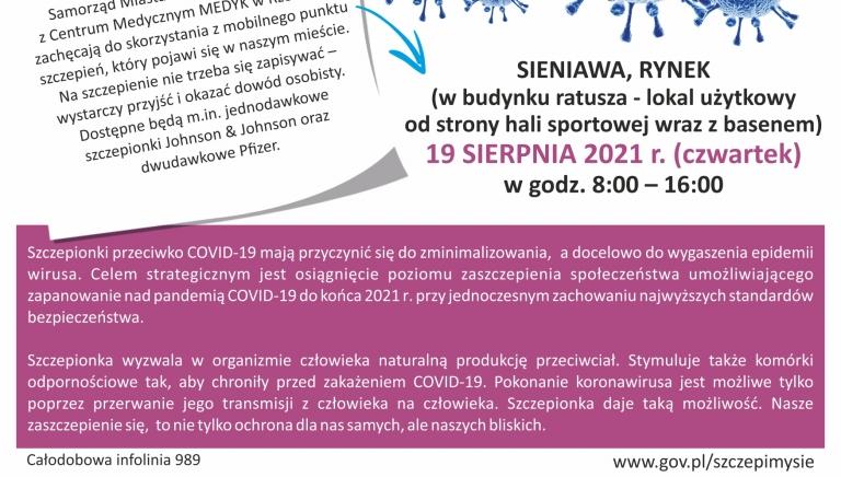 Zdjęcie główne newsa: Mobilny Punkt Szczepień w Sieniawie - zapraszamy w czwartek, 19 sierpnia 2021 r.